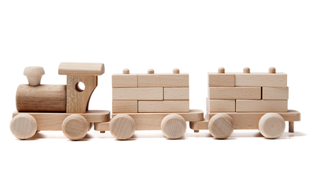 wooden toy: Wooden train on the white background Stock Photo