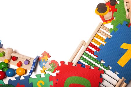 kids studying: border of very many kids toys