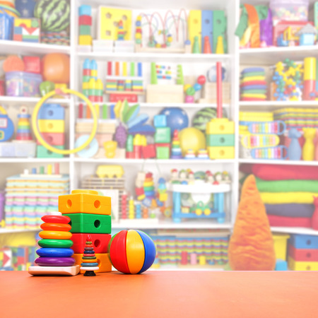 playroom: toys on the floor in a playroom Stock Photo