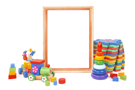 frame and many toys on the white background