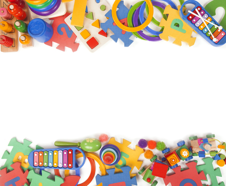 Color toys border on the while background