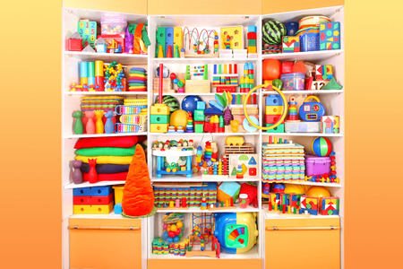 Shelf with many colored toys 版權商用圖片