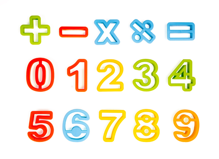colour numbers on the white Stock Photo