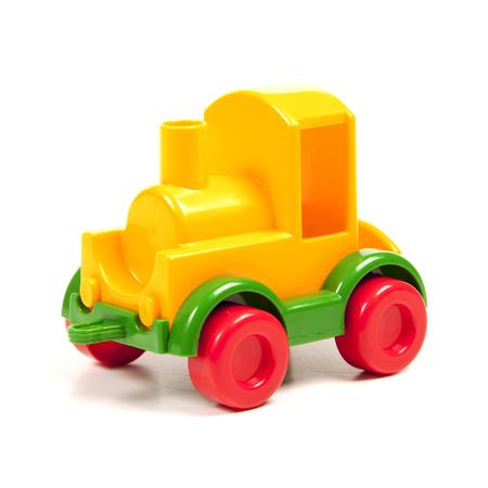 colour plastic train on the white
