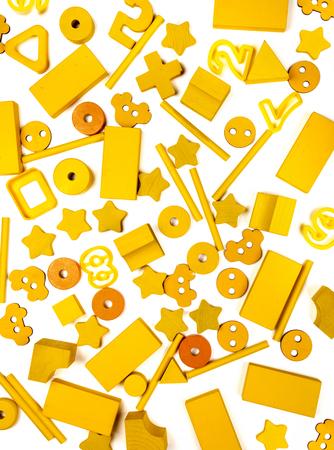 very many yellow kids toys Stockfoto