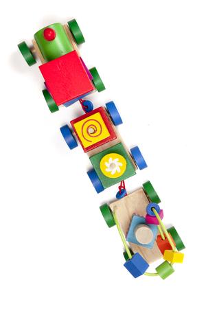 Wooden train puzzle Stockfoto