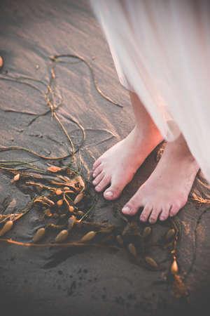 Female feet near seaweed Banco de Imagens