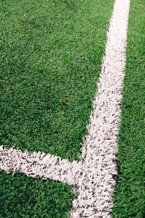 View of artificial turf on a soccer field with white painted lines Stock Photo