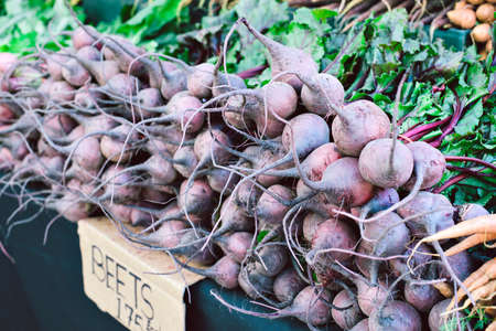 Large amount of beets bunched up on a table for sale at the farmers market