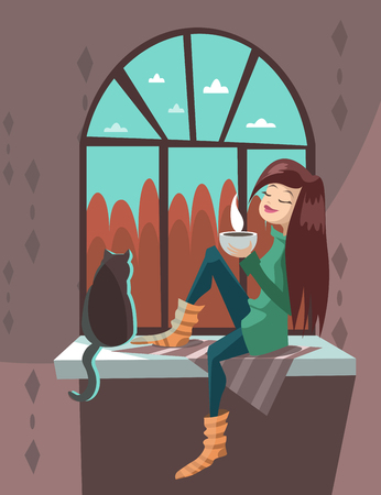 The girl with a cat on a windowsill drink hot tea. Vector  illustration.