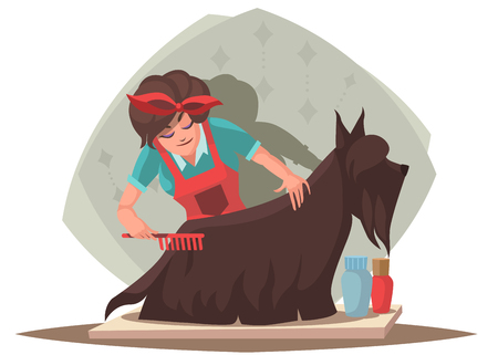Woman combing dog. Vector illustration