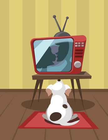 White dog looks a kiss on TV. Vector illustration