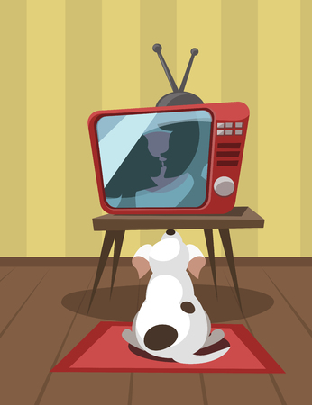 melodrama: White dog looks a kiss on TV. Vector illustration