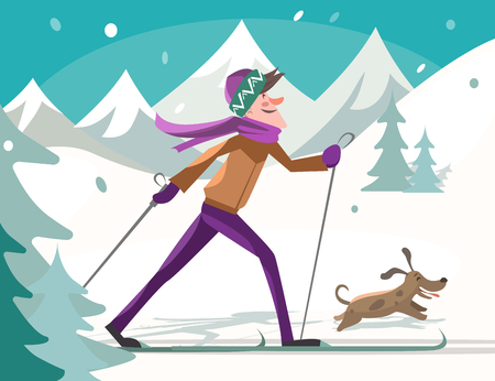 skier: Skier with dog in forest. Vector illustration.