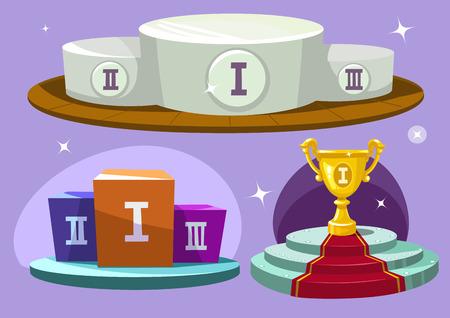 Cartoon winners podium. Winner cup.