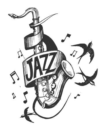 Jazz embleem met een saxofoon en zwaluwen.