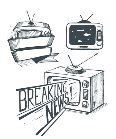 old tv: Old TV set. Breaking news.