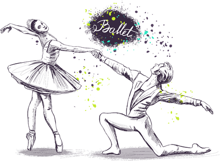 Couple of ballet dancers. Vector sketch. Isolated Illustration