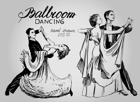 Gesellschaftstanz. Paar tanzt Walzer. Hand gezeichnet Vektor-Illustration. Isoliert