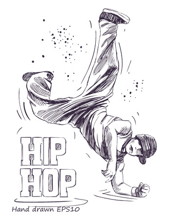 Hip hop dancer young man. Hand drawn vector illustration. Isolated