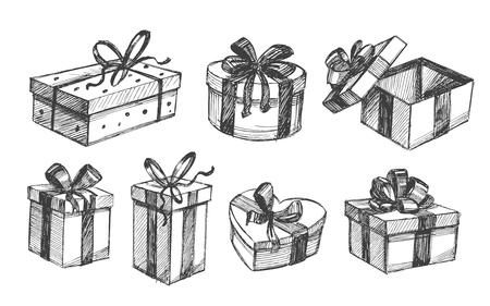 box set: Gift box set. Vector sketch. Isolated Illustration