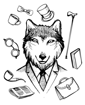 bussinessman: Wolf in suit. Gentleman icons. Hand drawn vector illustration. Illustration