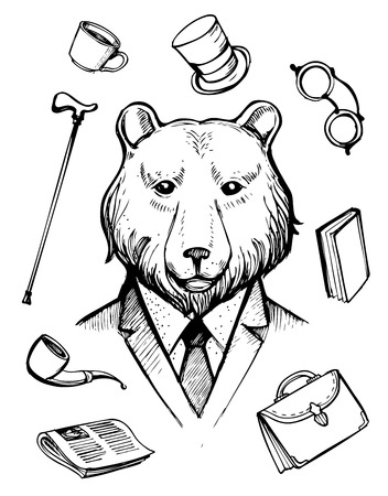 Bear in suit. Gentleman icons. Hand drawn vector illustration.
