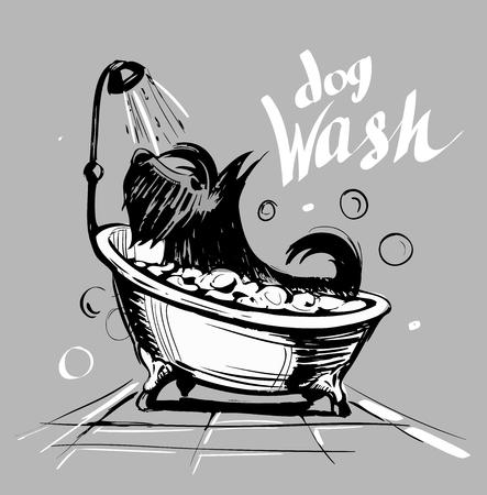 Hond in het bad schoon. Huisdieren wassen. Vector illustratie