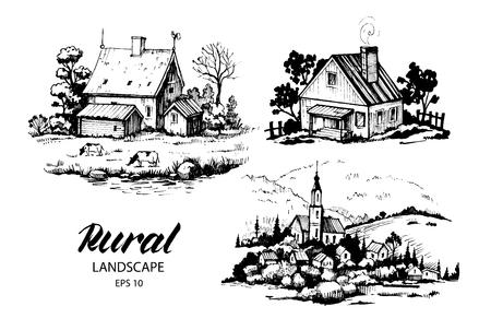 畑と住宅田園風景の景観のセット