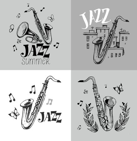 Emblème de jazz avec un saxophone Banque d'images - 79000602