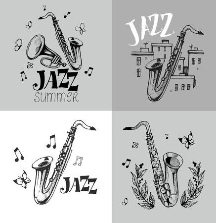 Jazz emblem with a saxophone Illustration