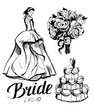 Vector sketch of the bride with wedding bouquet and cake Illustration