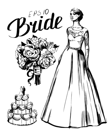 Vector sketch of the bride with wedding bouquet and cake Stock Photo