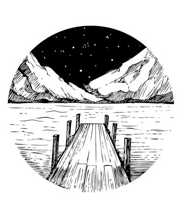 Lago e montagne. Schizzo del tatuaggio Stampa vettoriale