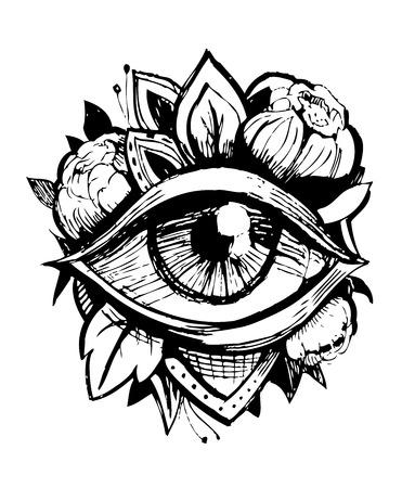 Oeil qui voit tout. Croquis de tatouage. Illustration vectorielle