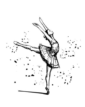 Schets van ballerina. Hand getrokken illustratie omgezet in vector.