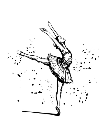 Sketch of ballerina. Hand drawn illustration converted to vector.
