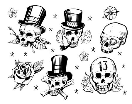 rose tattoo: Set of skulls. Illustration