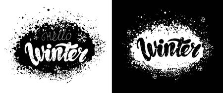 Winter vector background with hand drawn lettering and snowflakes. Illusztráció
