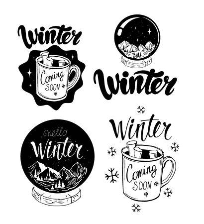 Set of winter emblems with hand drawn lettering, hats, mitens, snow globe,hot chocolate Illusztráció