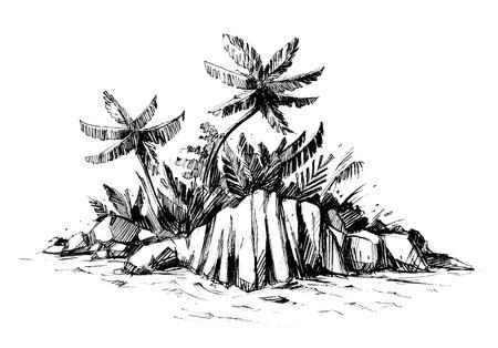 Paradijseiland met palmen en stenen. Vector schets.