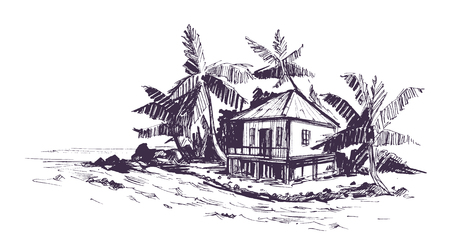 Tropical beach with palm trees and bungalow. Hand drawn sketch Vector illustration.
