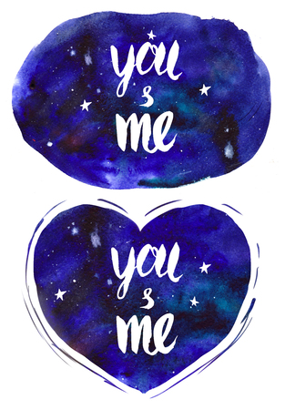 Watercolor illustration of space with hand drawn lettering, stars. Stock fotó