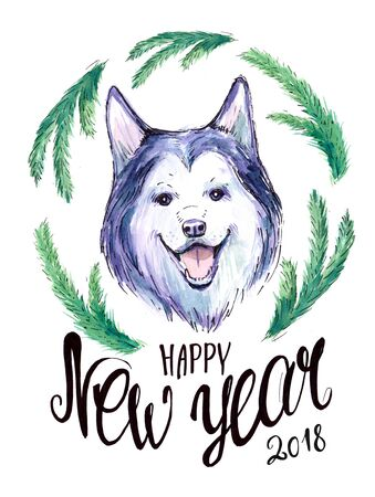 New year postcard with husky dog and spruce branches. Watercolor hand drawn illustration Stock fotó