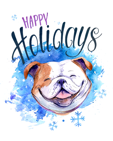 Christmas card with bulldog. Watercolor hnd drawn illustration