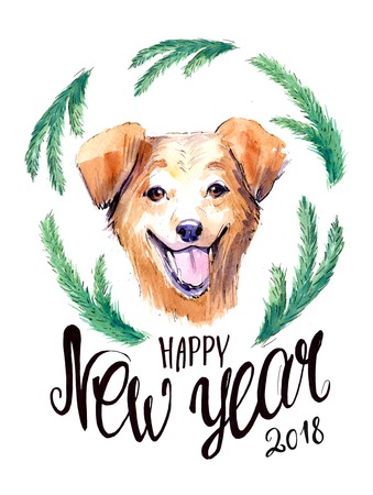 New year postcard with dog and spruce branches. Watercolor hand drawn illustration