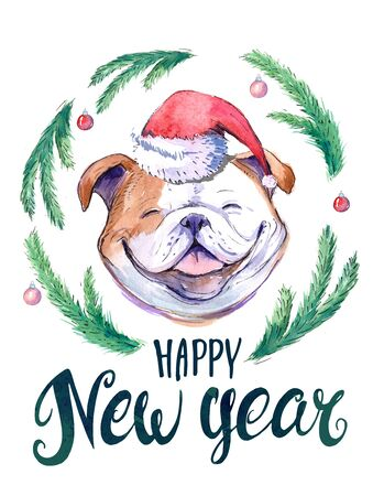 New year postcard with bulldog and spruce branches. Watercolor hand drawn illustration