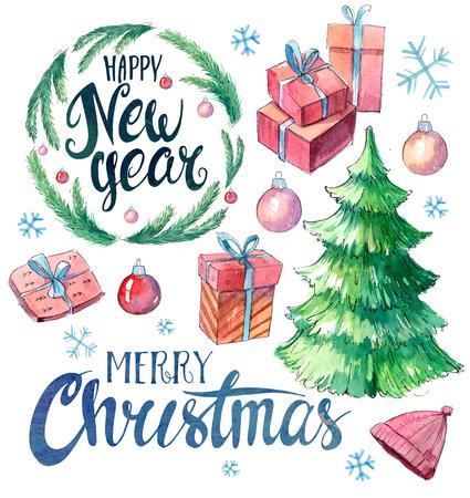 Christmas set: gift boxes, fir tree, snowflakes. Watercolor hand drawn illustration.