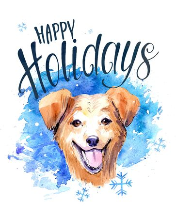Christmas card with dog. Watercolor hnd drawn illustration
