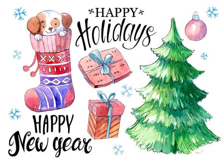 Christmas set: socks, gift boxes, dog, fir tree. Watercolor hand drawn illustration.